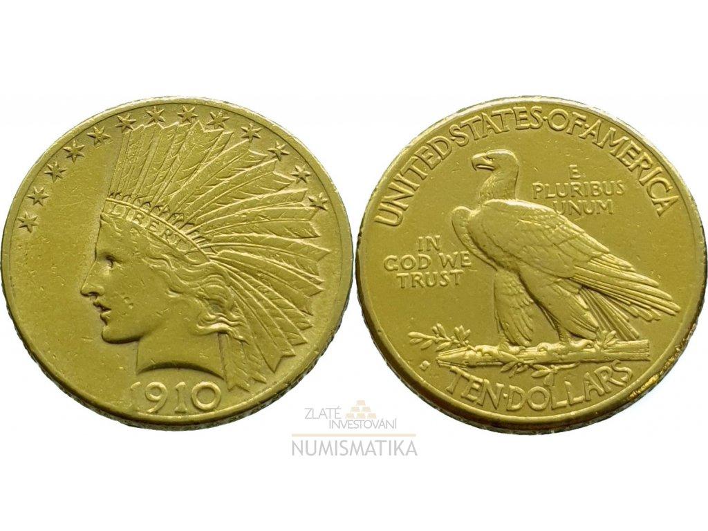 Zlatý 10 dollar 1914 indian