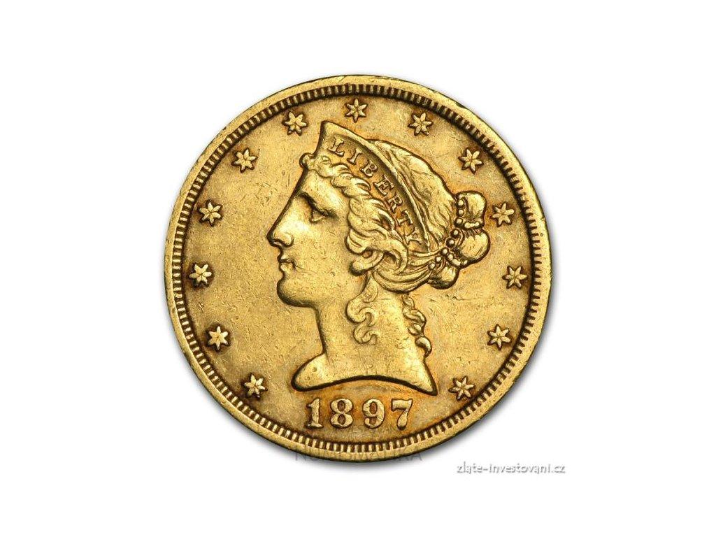 3518 zlata mince liberty half eagle 5 dolar