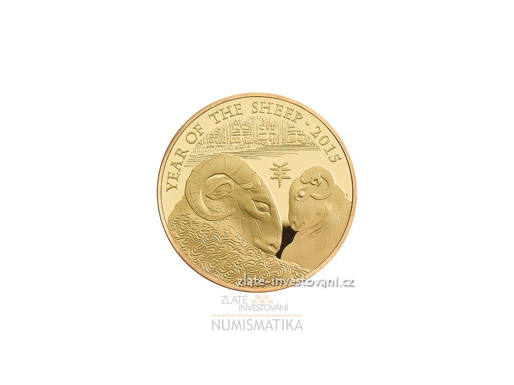 Investiční zlatá mince rok kozy 2015-lunární série Royal Mint 1 Oz