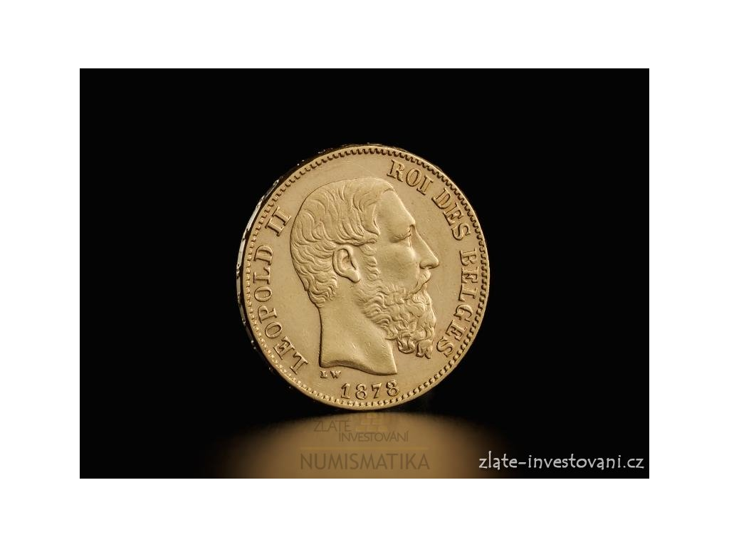 3677 zlata mince belgicky dvacetifrank kral leopold ii 1870