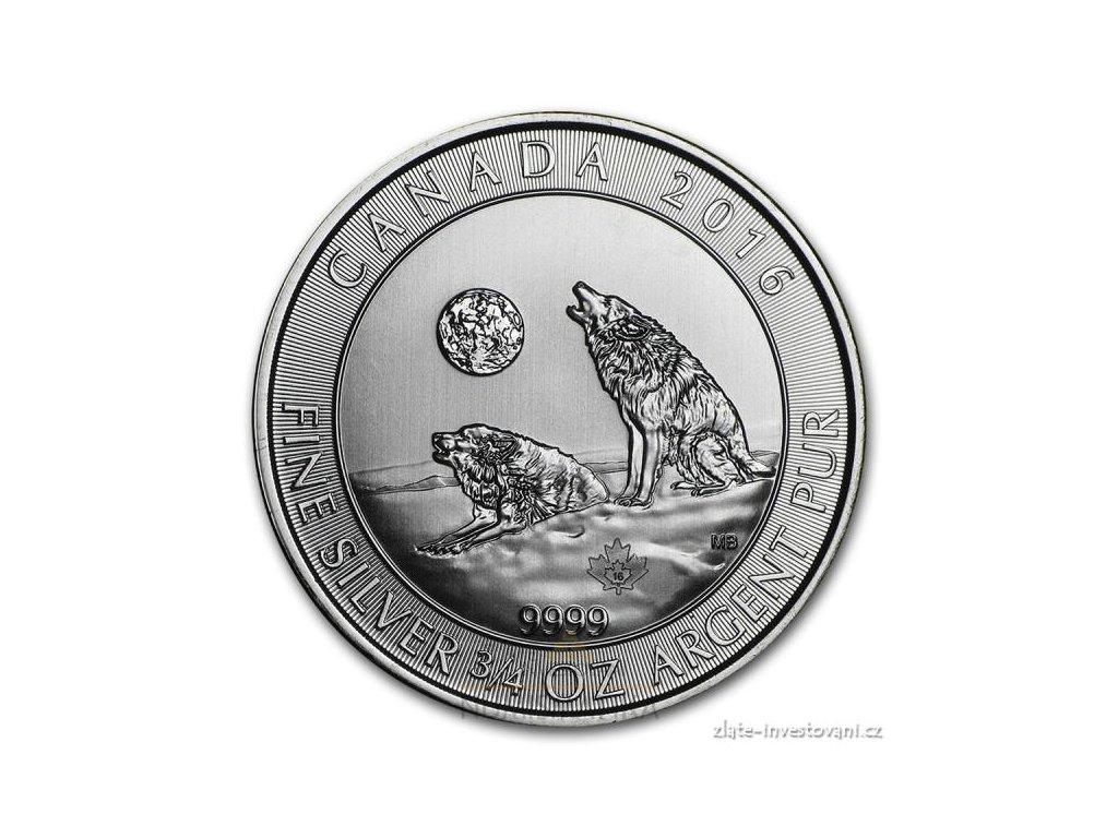 3698 investicni stribrna mince vlci 2016 kanada 3 4 oz