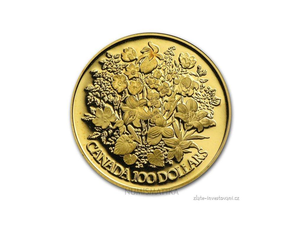 3932 zlata mince kvety 1977 kanada 1 2 oz