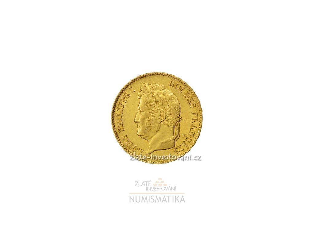 3977 zlata mince francouzsky ctyricetifrank ludvik filip i