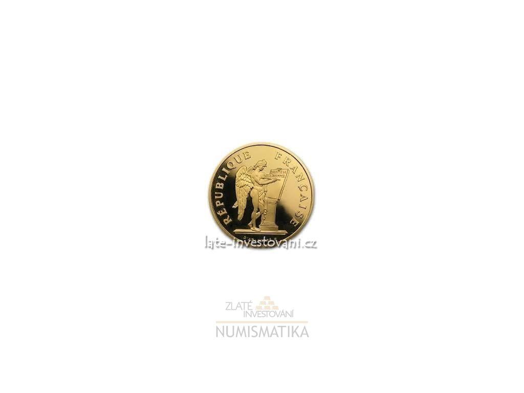 4007 zlata mince francouzsky 100 frank andel 1989 proof