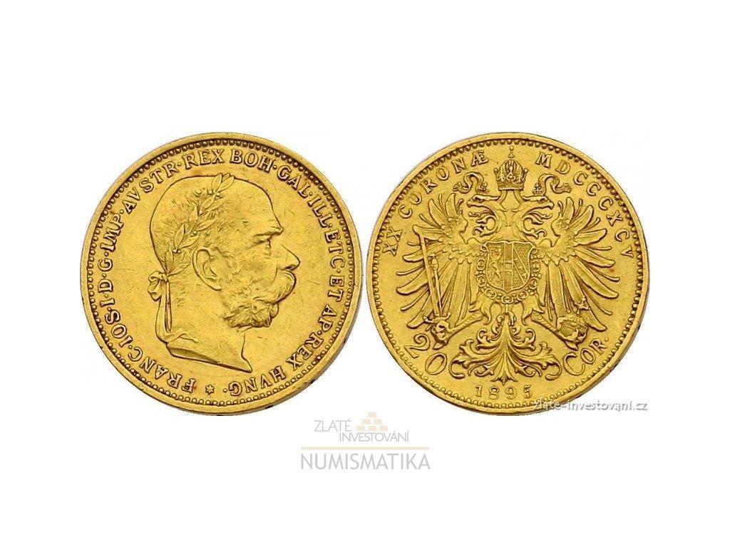 Zlatá mince Dvacetikoruna Františka Josefa I. rakouská ražba 1895