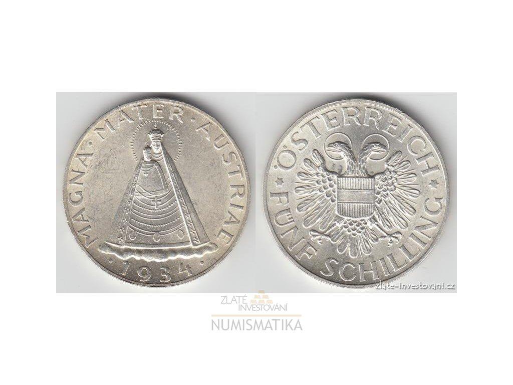 Stříbrná Mince Rakouský 5 šilink Madona Magna Mater Zi Numismatika