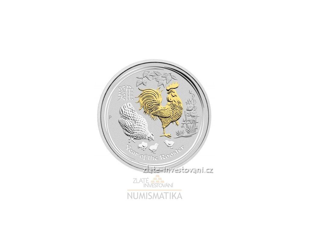 5150 investicni stribrna mince rok kohouta 2017 lunarni serie ii zlacena 1 oz