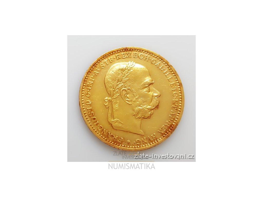 Zlatá mince Dvacetikoruna Františka Josefa I. rakouská ražba 1894