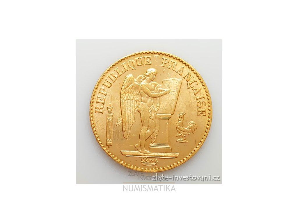 5309 zlaty francouzsky 20 frank andel genius l 1895