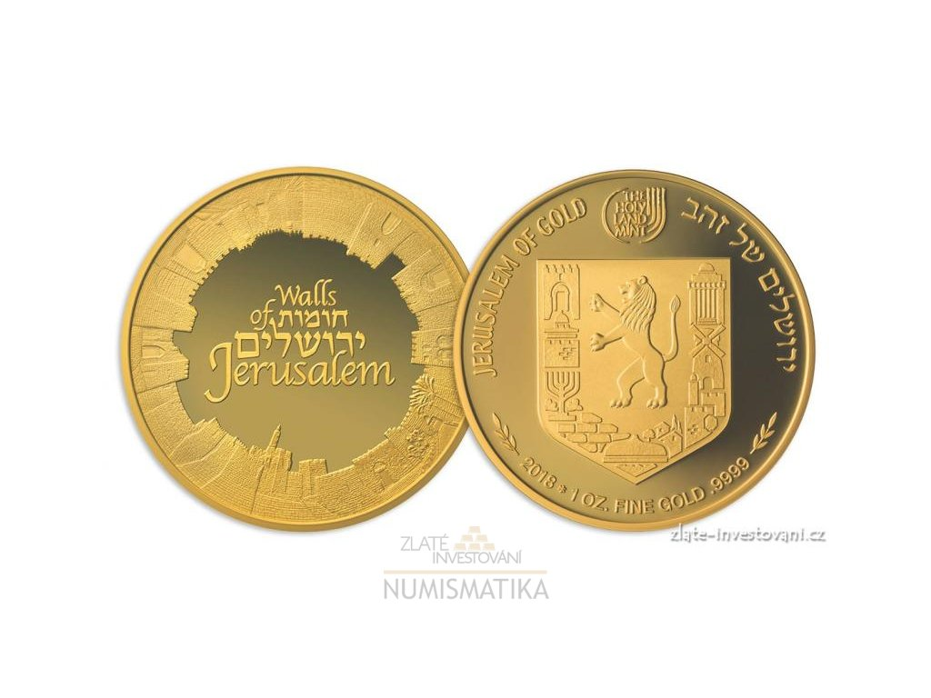 5324 investicni zlata mince walls of jerusalem izrael 2018 serie views of jerusalem