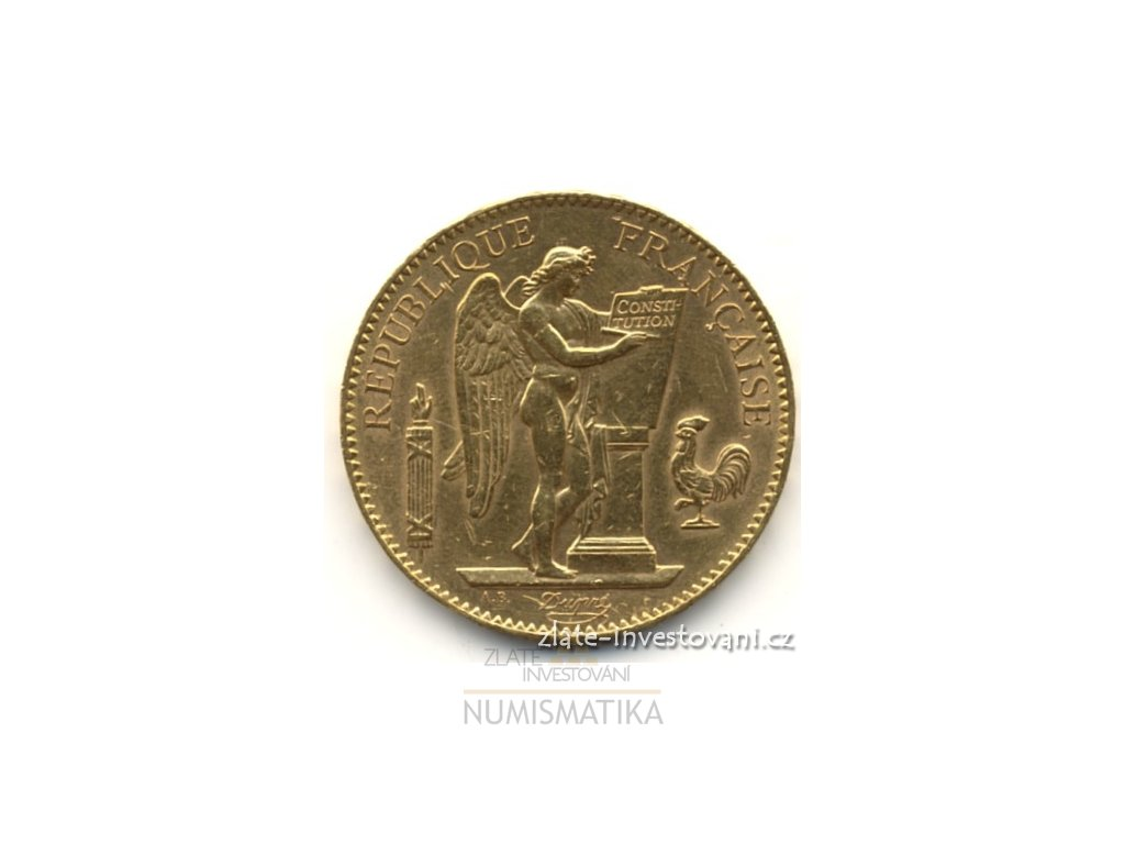 5327 zlata mince francouzsky 100 frank andel genius 1910