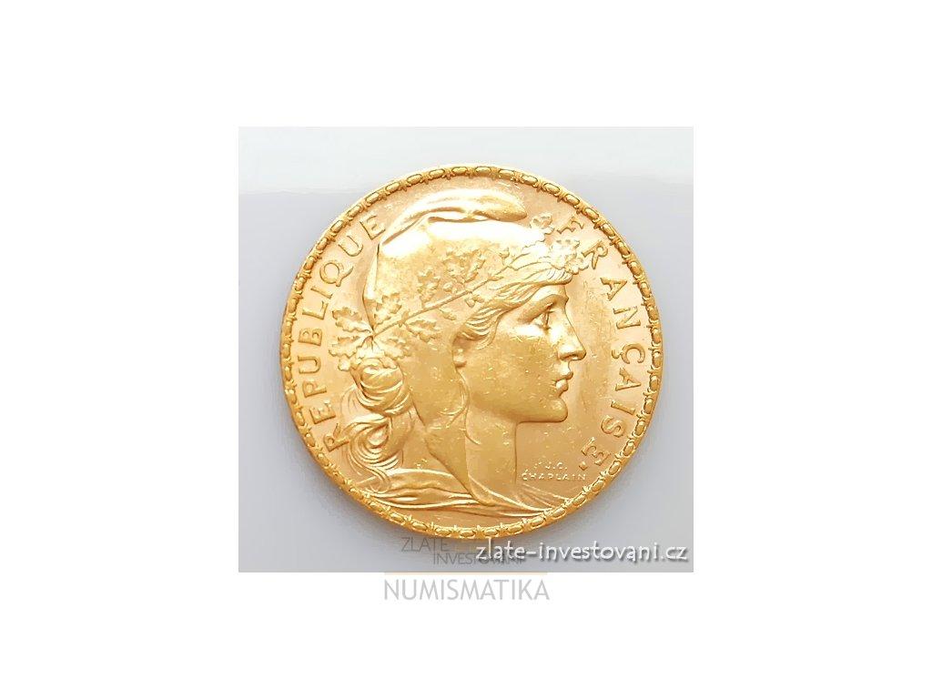 5345 zlata mince francouzsky 20 frank kohout 1907