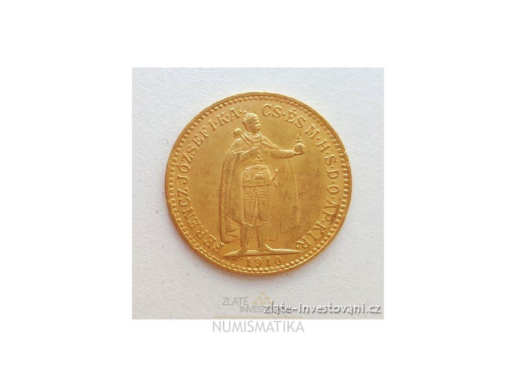Zlatá mince Desetikoruna Františka Josefa I.- uherská ražba 1910 K.B.