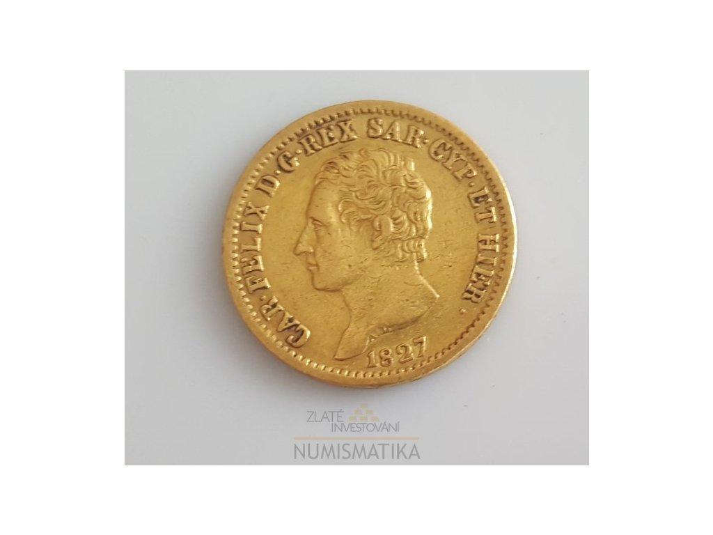 5531 zlata mince 20 lira sardinie carlo felix 1828