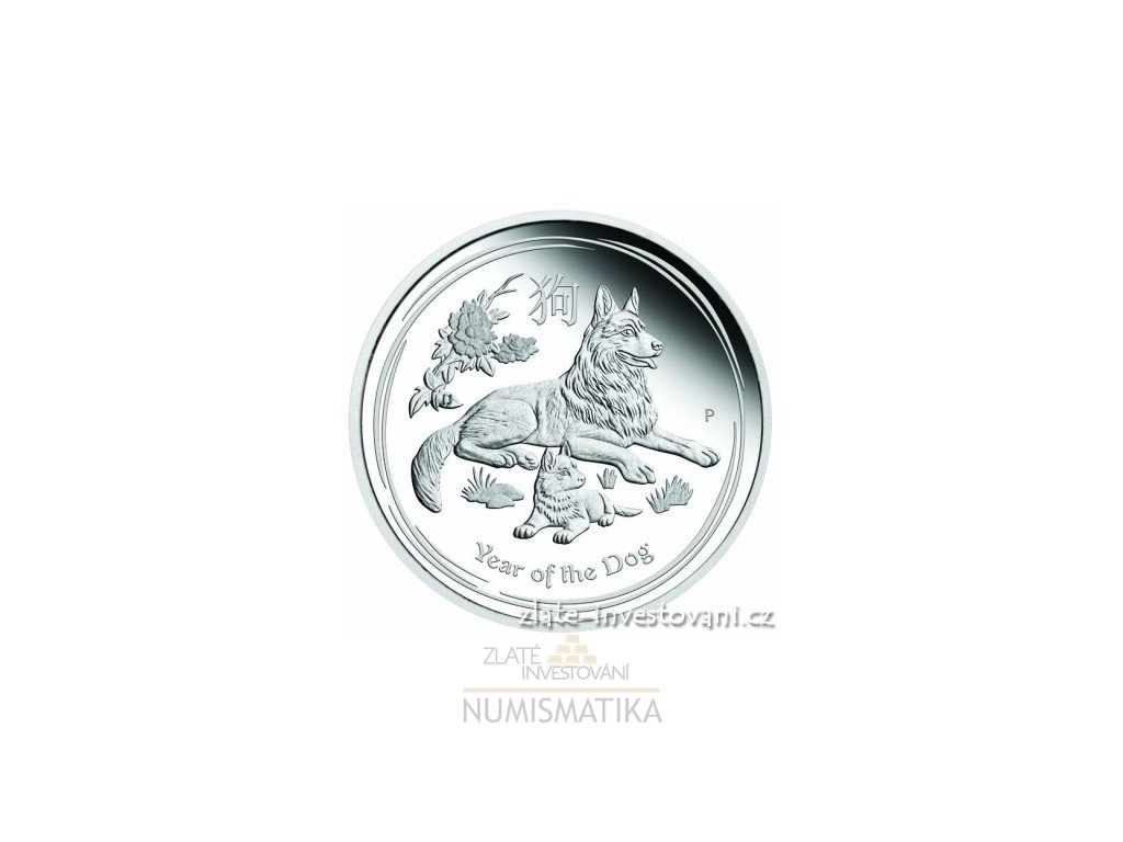 5603 investicni stribrna mince rok psa 2018 lunarni serie ii proof 1 2 oz