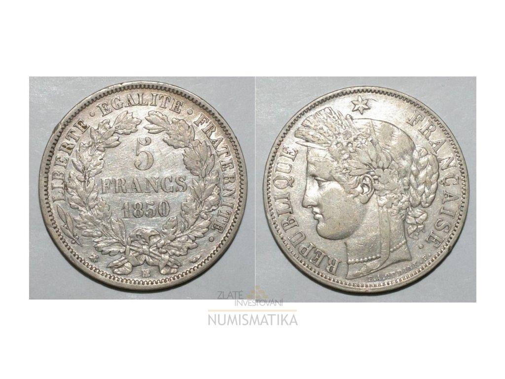 Stříbrný 5 frank Ceres