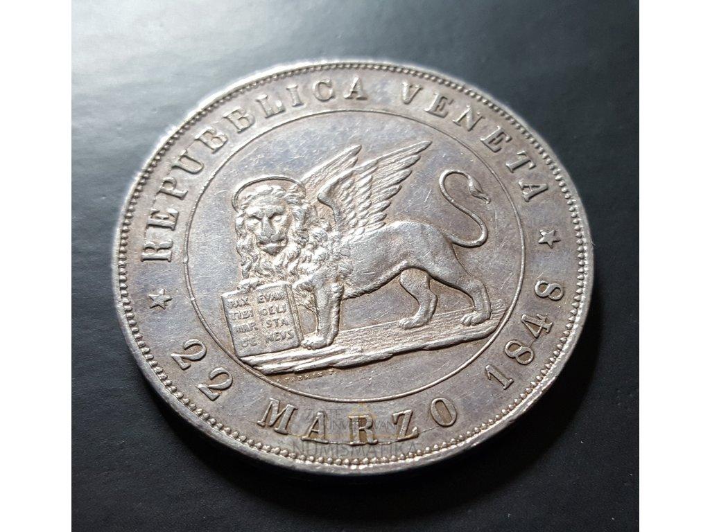Stříbrná 5 lira 1848 V