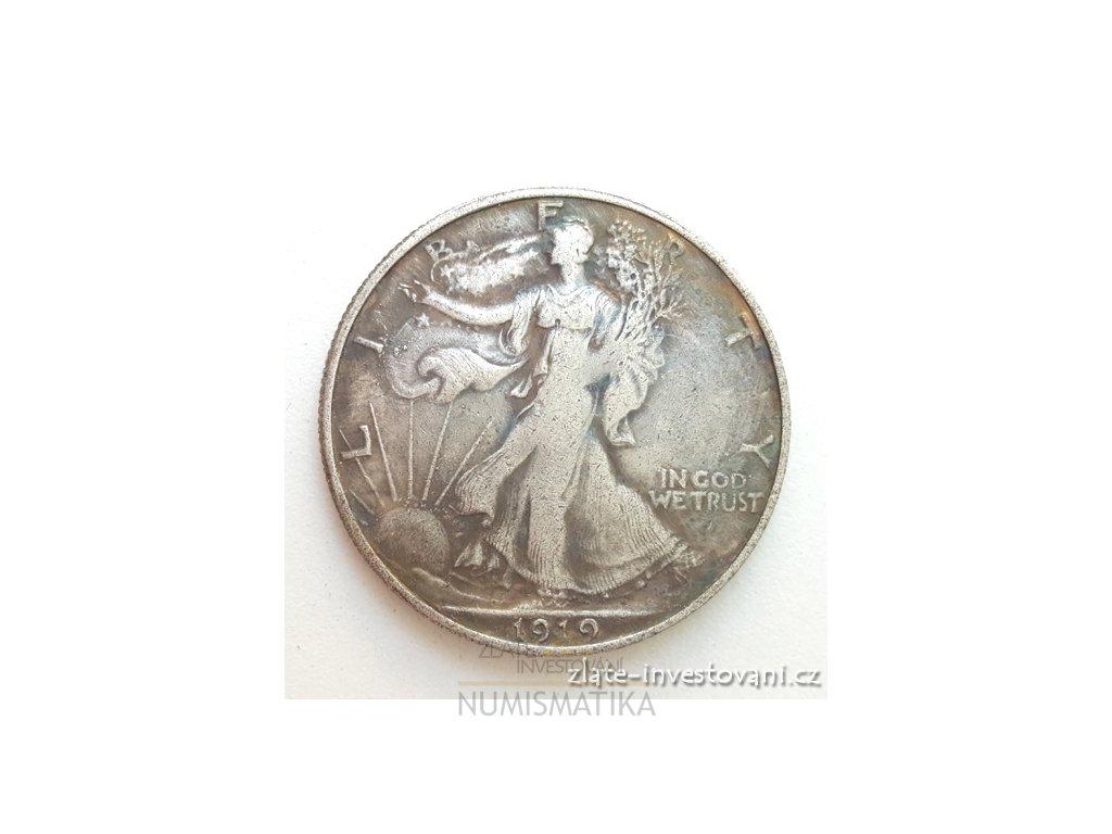 5807 stribrna mince usa half dollar kracejici svoboda 1916 1947