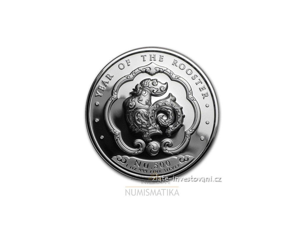 Stříbrná mince rok kohouta 2017-Bhután 1 Oz
