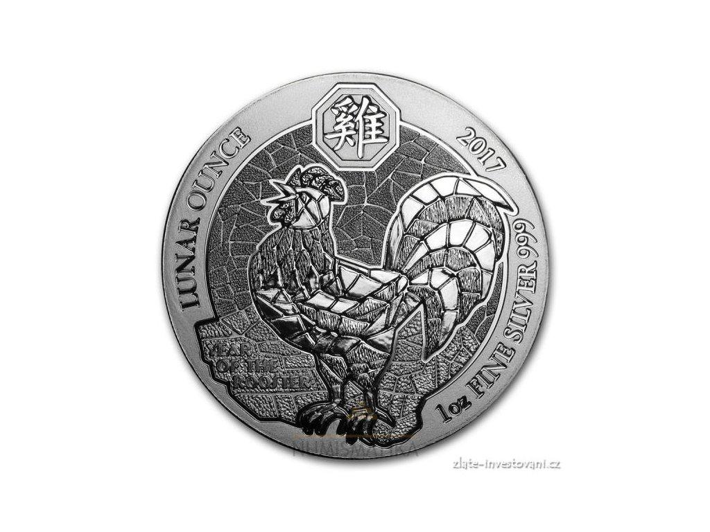 Stříbrná mince rok kohouta 2017-Rwanda 1 Oz