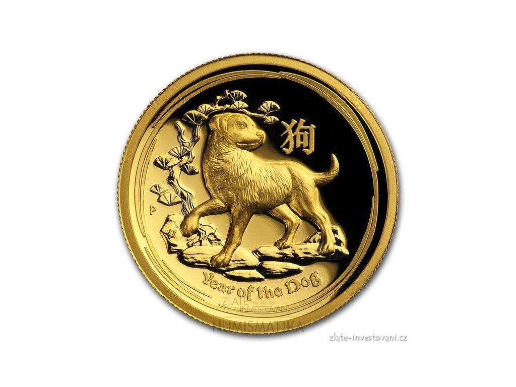 5849 investicni zlata mince rok psa 2018 lunarni serie ii vysoky relifef 1 oz