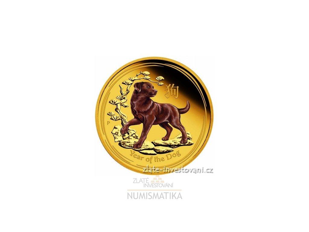 5939 investicni zlata mince rok psa 2018 lunarni serie ii kolorovana verze 1 oz