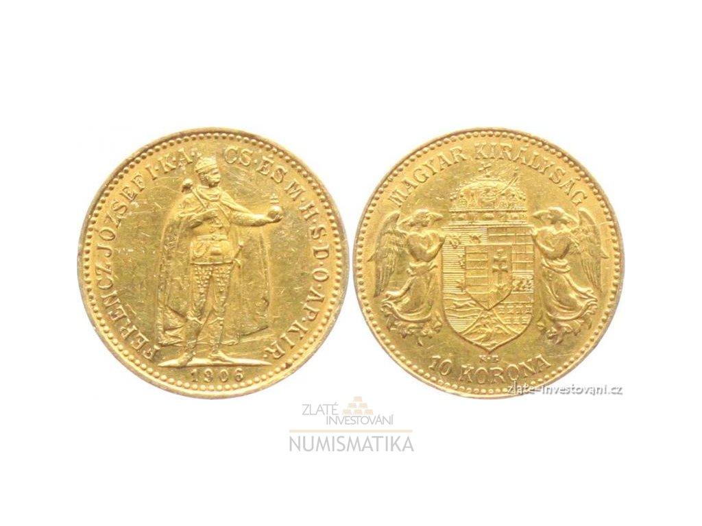 Zlatá mince Desetikoruna Františka Josefa I.- uherská ražba 1906 KB