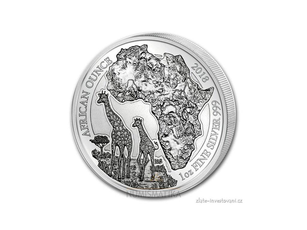 Investiční stříbrná mince rok Žirafa 2018-Rwanda 1 Oz