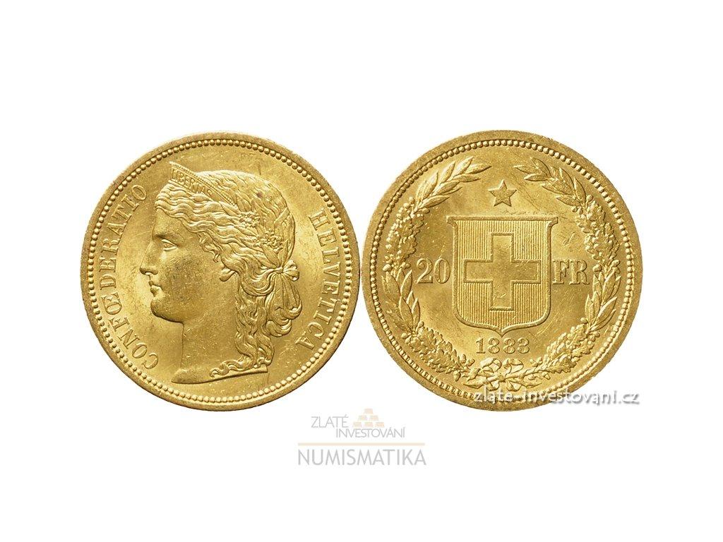 6104 zlata mince svycarsky dvacetifrank helvetica 1883