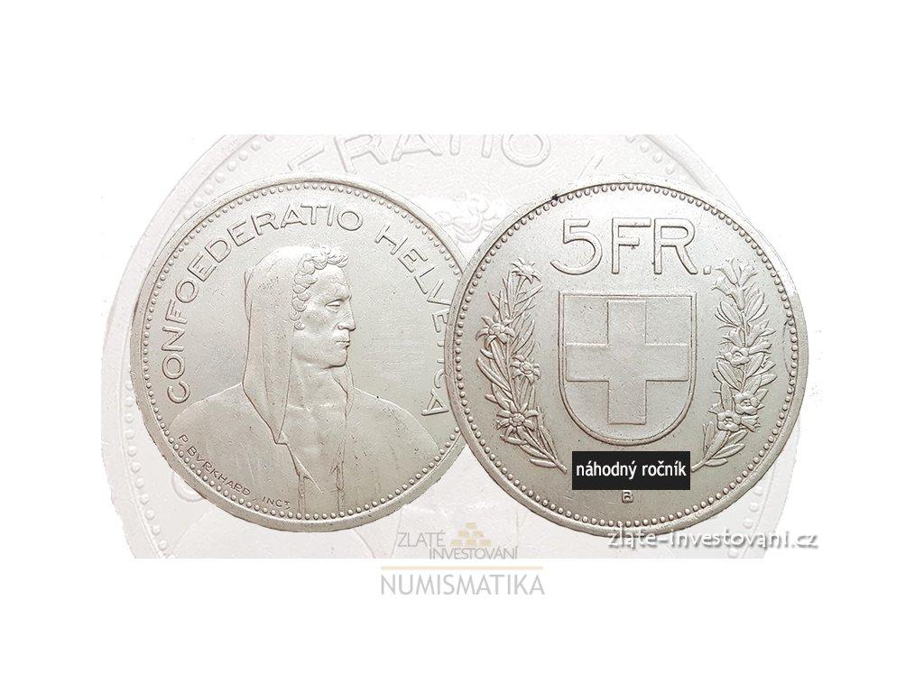 6254 stribrny 5 frank konfederace svycarsko