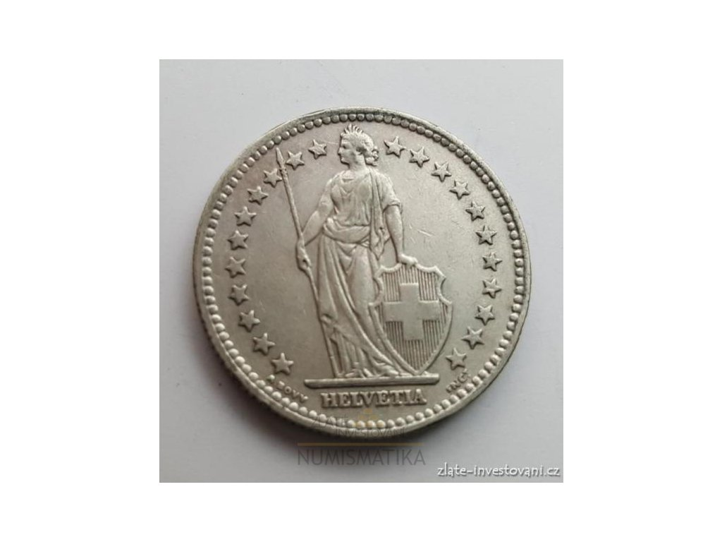 6263 stribrny 2 frank svycarsko 1967 b