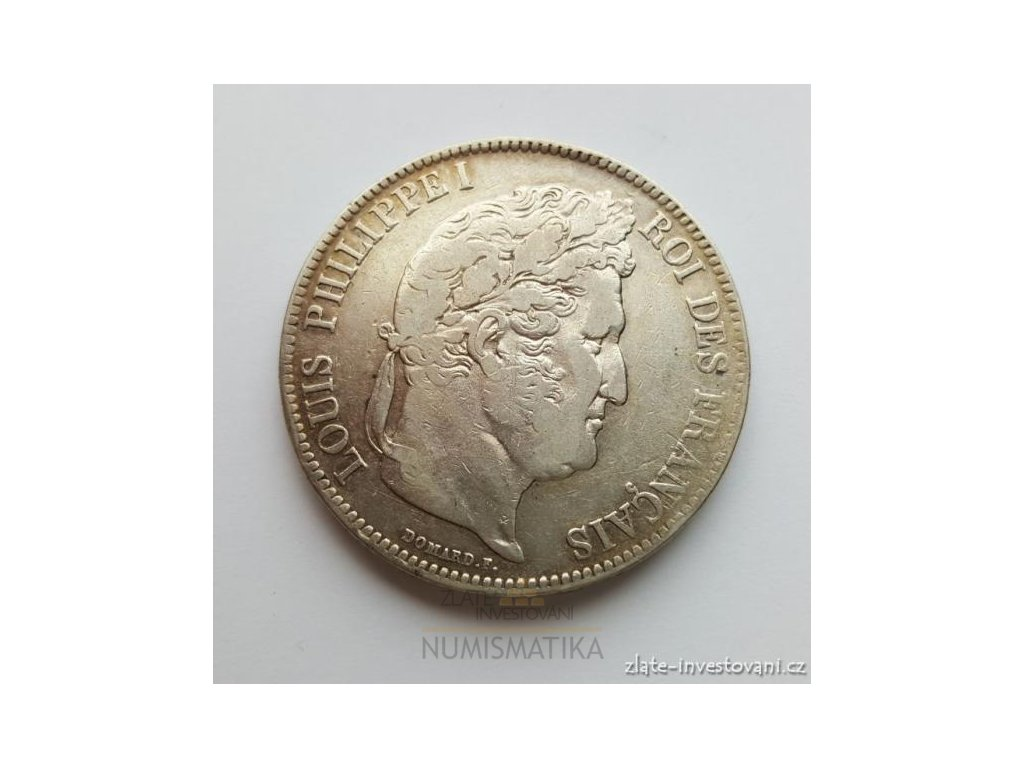 6287 stribrny francouzsky 5 frank louis philippe 1837
