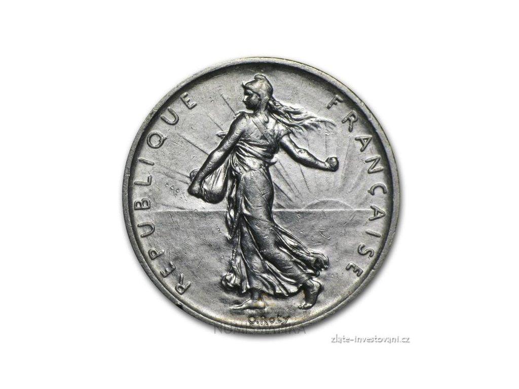 6299 stribrny francouzsky novy 5 frank rozsevacka