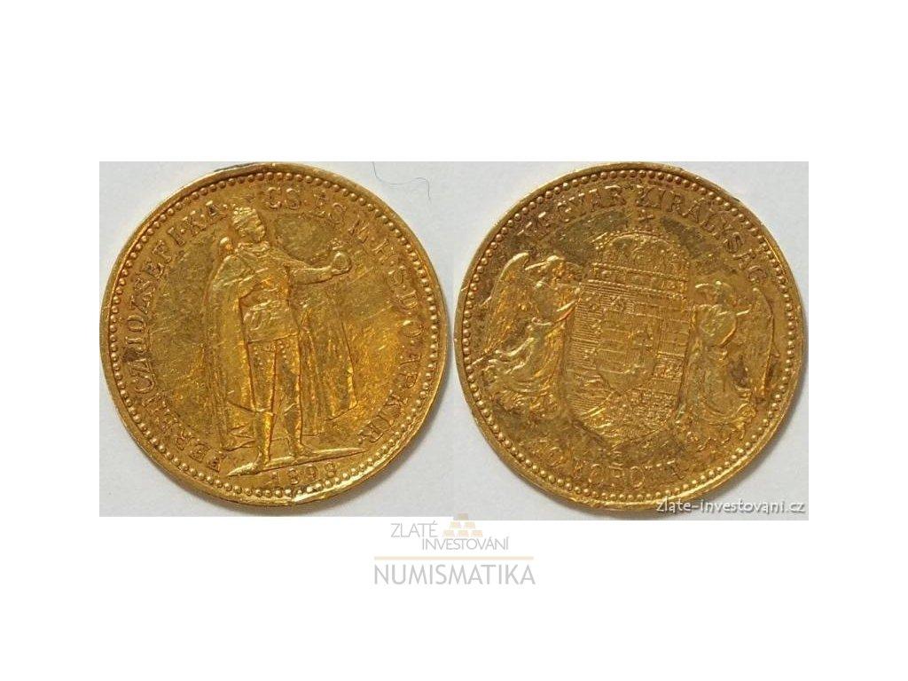 6680 zlata mince desetikoruna frantiska josefa i uherska razba 1898 kb