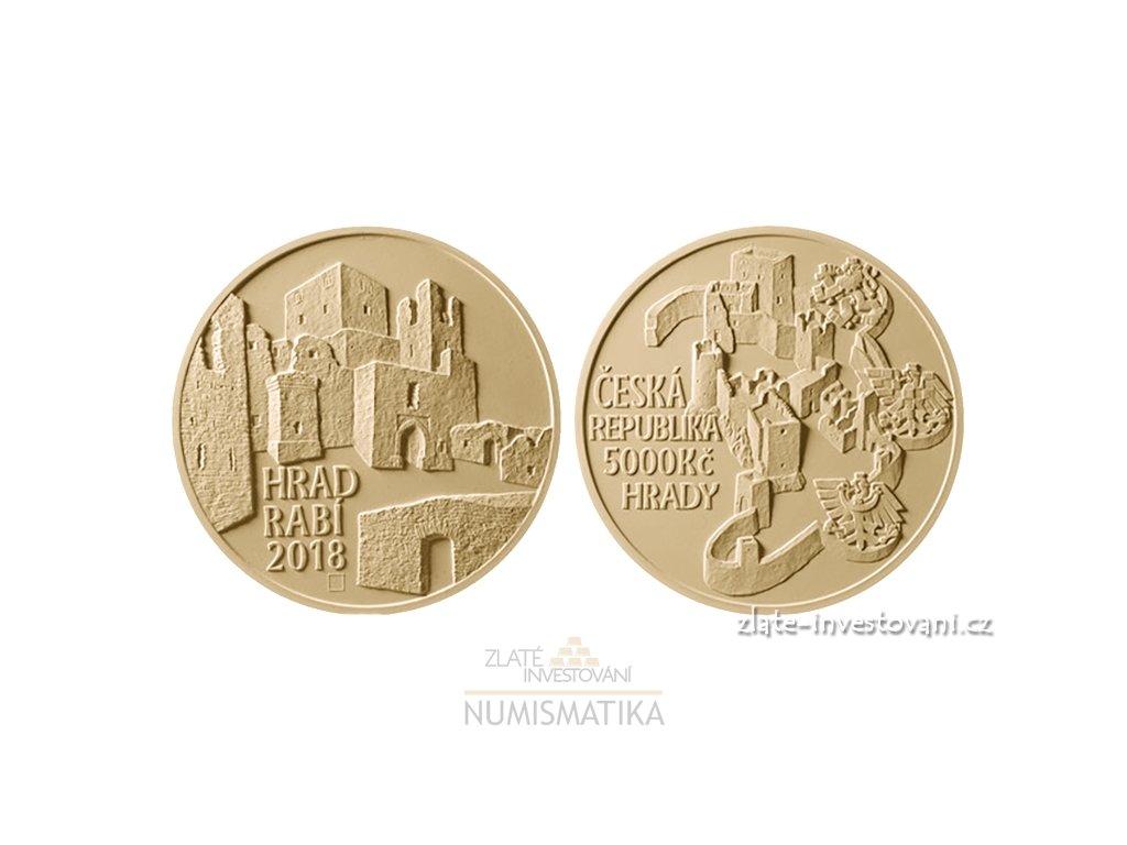 6797 zlata mince hrad rabi 2018 serie hrady proof 1 2 oz
