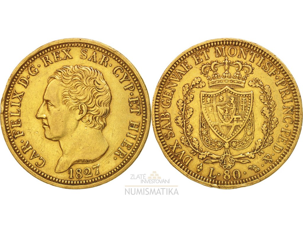Zlatá mince 80 lira Carlo Felix-Sardinie 1827