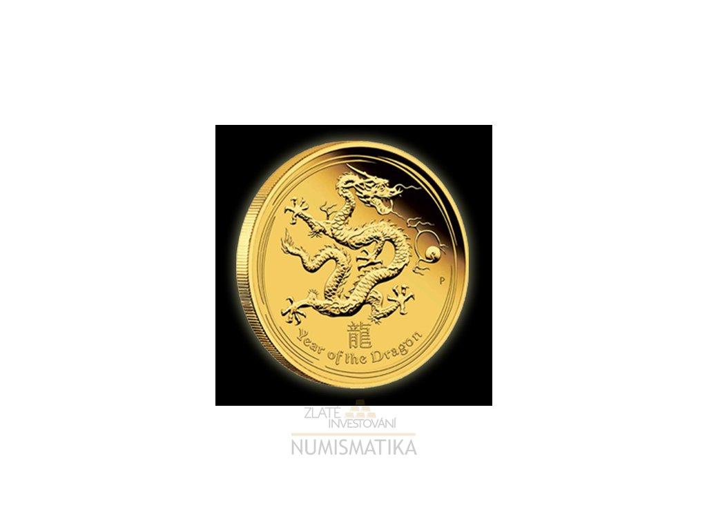 Investiční zlatá mince rok draka 2012-lunární série II. 1/10 Oz