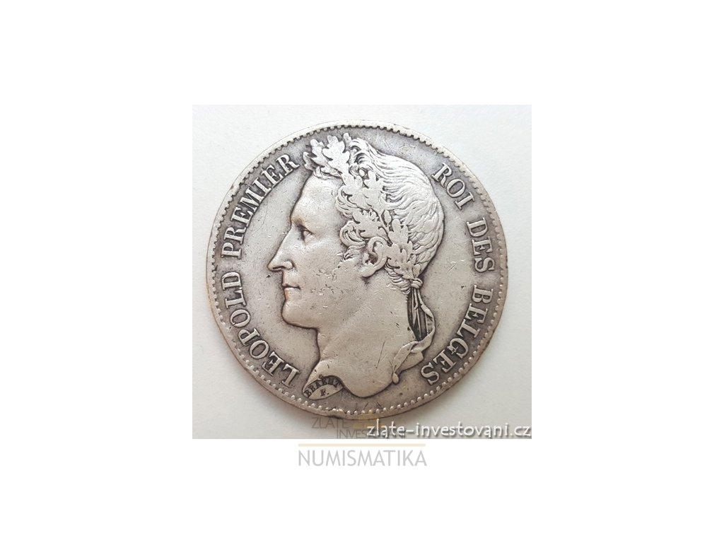 Stříbrný belgický 5 frank-Leopold 1849
