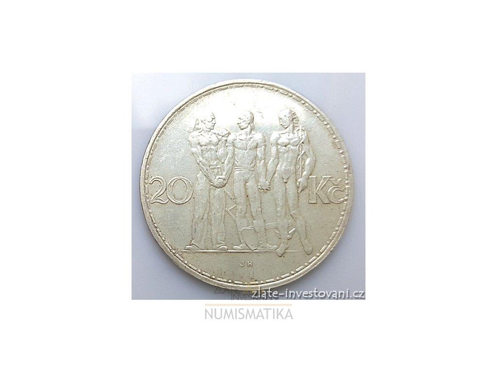 Stříbrná 20 koruna 1934