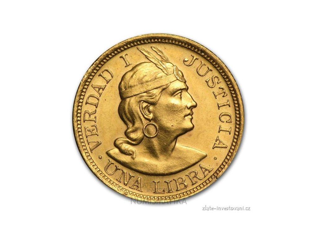 Zlatá mince Una libra-Peru 1917