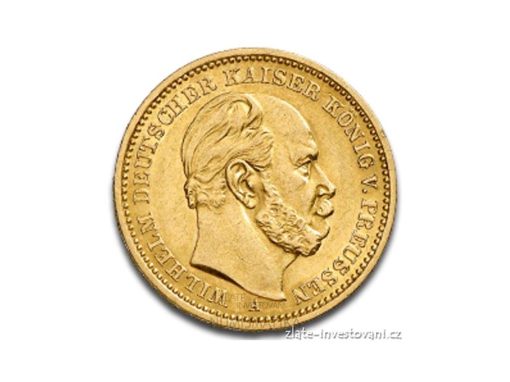 Zlatá mince pruská Dvacetimarka-Wilhelm I.