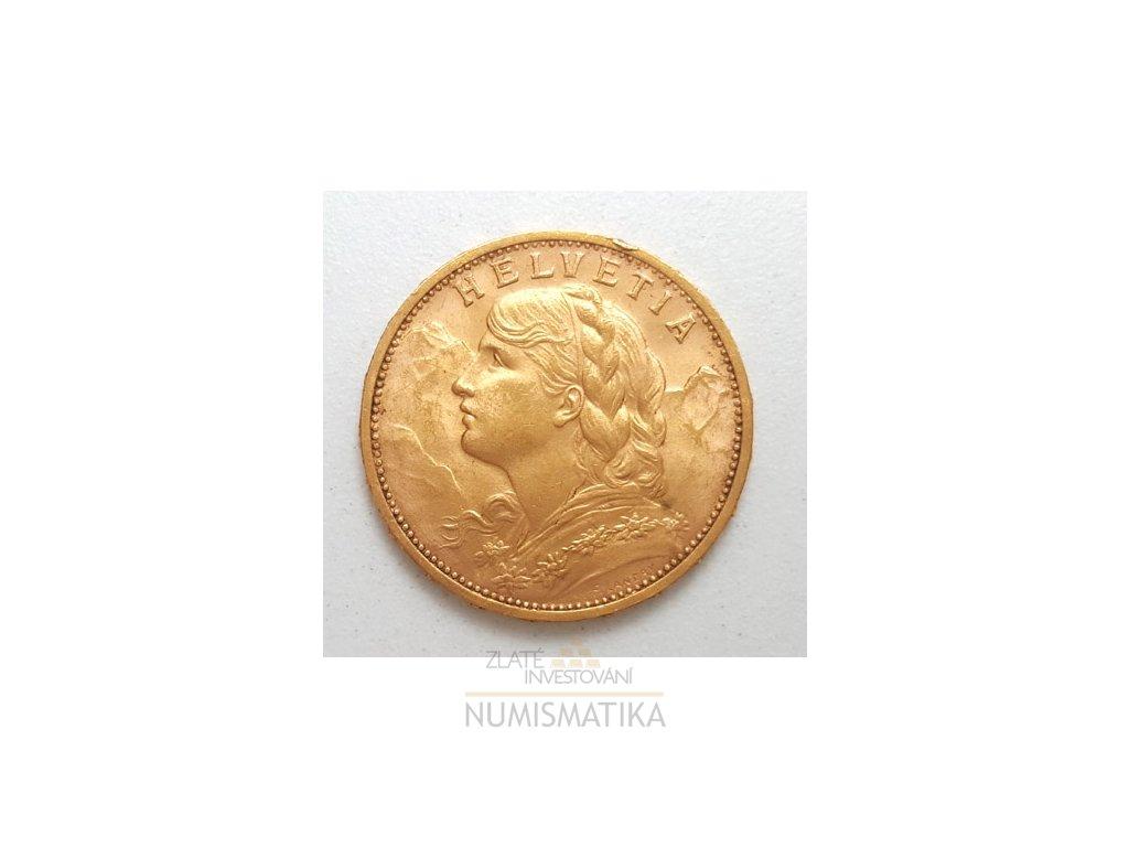 Investiční zlatá mince švýcarský 20 frank-Vrenelli 1930