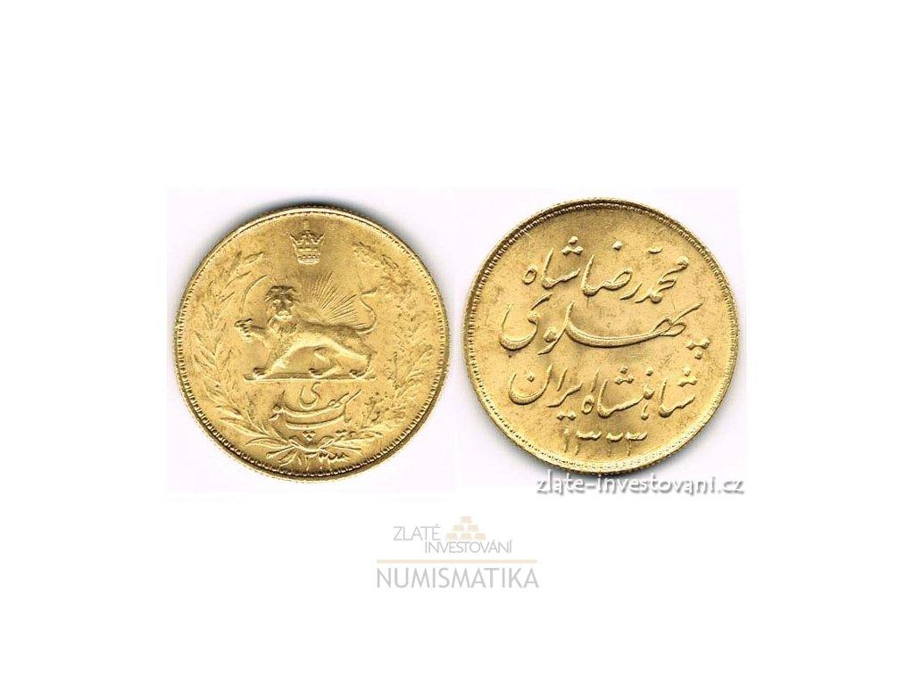 Zlatá mince Reza Pahlavi-Persie 1944