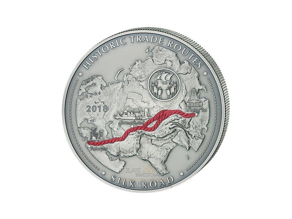 Stříbrná mince 5 Oz Kamerun-Historické obchodní cesty-silk route 2018-cesta hedvábí