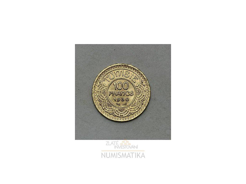 Zlatá mince tuniský 100 frank-Ahmad II. 1930- 1937