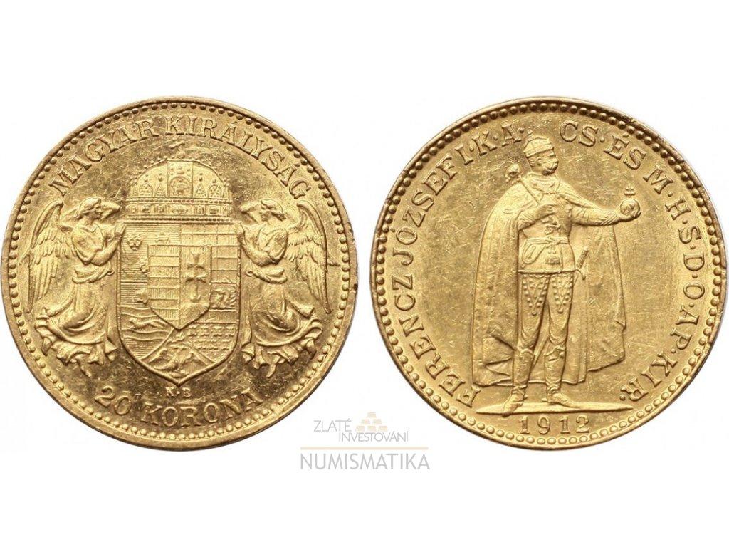 Zlatá Dvacetikoruna Františka Josefa I. Uherská ražba KB Mint 1912