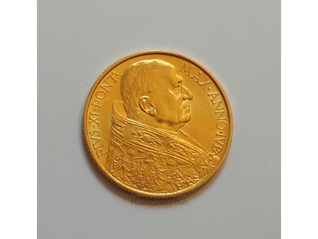 Zlatá mince jubilejní 100 lira Pius XI.- 1933 -1934  Vatikán