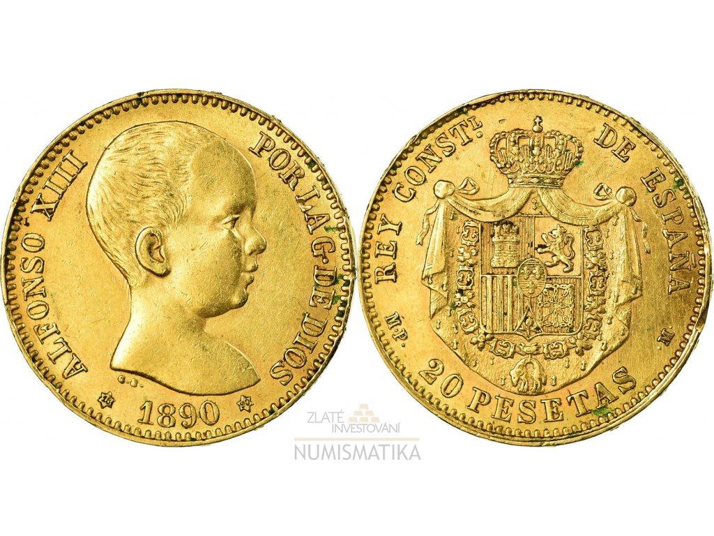 Zlatá mince 20 peset-Alfonso VIII. 1887-1890- první portrét