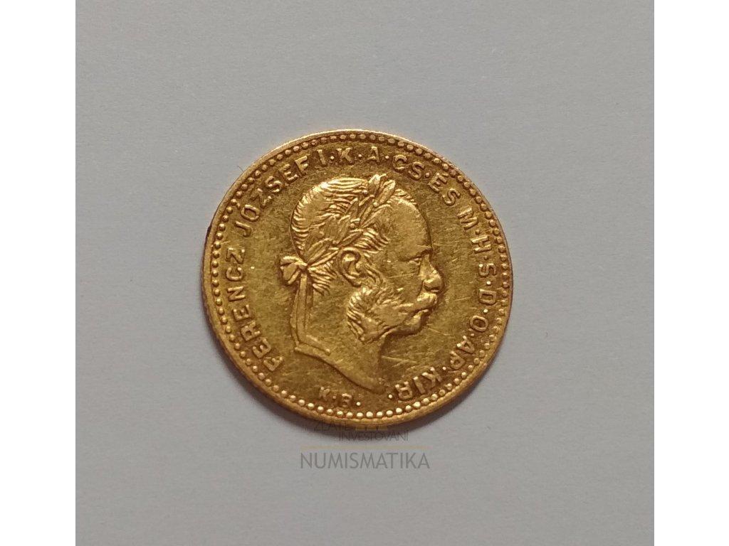 Zlatý čtyřzlatník-deseti frank Uherská ražba 1874  KB