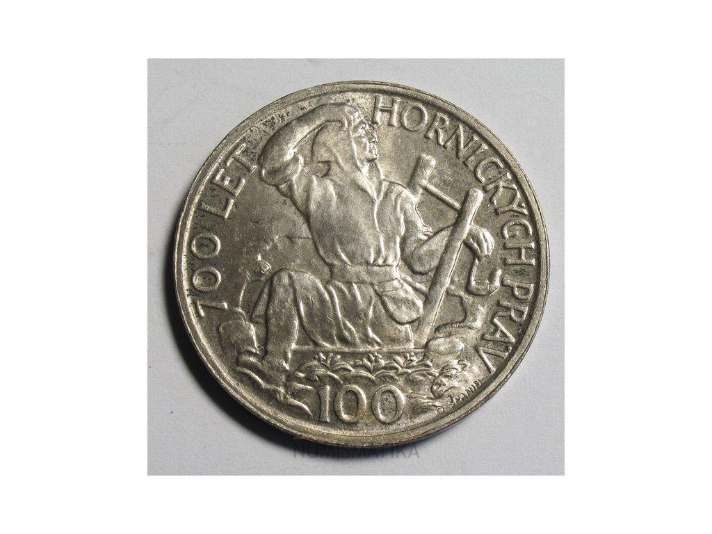 Stříbrná 100 koruna 700 let hornických práv 1949